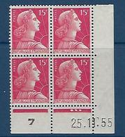 "FR Coins Datés YT 1011 "" Marianne Muller 15F. Rose "" Neuf** Du 25.11.55 - 1950-1959"