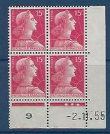 "FR Coins Datés YT 1011 "" Marianne Muller 15F. Rose "" Neuf** Du 2.11.55 - 1950-1959"