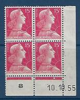 "FR Coins Datés YT 1011 "" Marianne Muller 15F. Rose "" Neuf** Du 10.10.55 - 1950-1959"