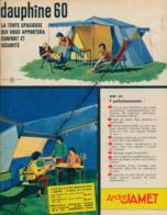 Ancienne Publicité (1960) : Tente De Camping ANDRE JAMET, Modèle Dauphine 60, Grenoble - Advertising