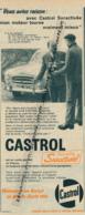 Ancienne Publicité (1960) : HUILE CASTROL, Suractivée, René Brieu, Le Perreux, 403 Peugeot, Bidon - Advertising
