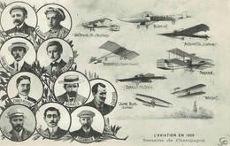 Reims L'aviation En 1909 Semaine De L'aviation Première Journée Avc Vignette Grande Semaine De L'aviation - Aviation