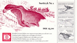 Grönland, 2001, Schwarzdruck Nr. 1, HAFNIA '01, Wale, - Grönland