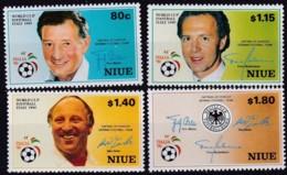 Niue, 1990, 753/56,  Fußball-WM, Italien: Spielführer Der Deutschen Nationalmannschaft. MNH ** - Niue
