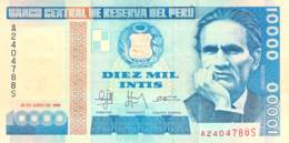 10.000 Diez Mil Intis Banknote Peru - Pérou