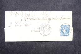 FRANCE - Lettre De Vienne Pour Crémieux En 1871,  Oblitération D 'arrivée Sur Type Bordeaux - L 23632 - 1849-1876: Classic Period