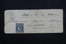 FRANCE - Enveloppe De Lorgues Pour Aix En 1852 , Affranchissement Cérès , Oblitération PC 1760 - L 23633 - 1849-1876: Klassik
