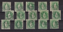 SUISSE 1891-1900 :   Lot De 15  'Helvétie Debout' (ZNr 67C Et 67D) Oblitérés,  Pour étude - 1882-1906 Wappen, Stehende Helvetia & UPU