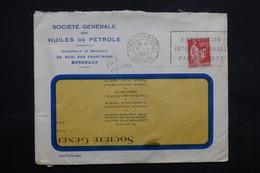 FRANCE - Type Paix Perforé Sur Enveloppe Commerciale Des Huiles De Pétrole De Bordeaux En 1937 - L 23634 - Perforés