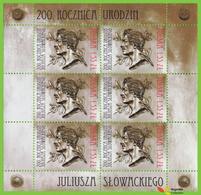 Voyo POLAND JULIUSZ SLOWACKI - Poet 2010 Mi # 4444   ** MINT - Feuilles Complètes