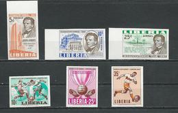 LIBERIA Scott 397-398 C134, 444-446 (6) ** Non Perforé 1961-8 - Liberia