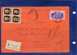 ##(DAN193)-1941-Busta Raccomandata Da Termini Imerese Per  PalermoFratellanza D'armi Cent.50 + Imperiale - Poststempel