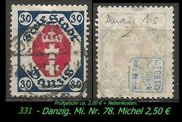 Mi. Nr. 78 In Gebraucht - Geprüft - DANZIG 1s - Danzig