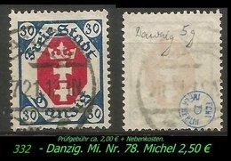 Mi. Nr. 78 In Gebraucht - Geprüft - DANZIG 5 G - Danzig