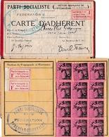 1933 - PARTI SOCIALISTE S.F.I.O. - Carte D'Adhérent Et Feuille De Cotisation - Timbres De PROPAGANDE - - Documents Historiques