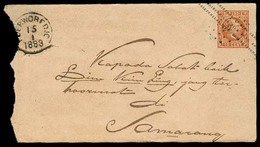 DUTCH INDIES. 1883. Poerworedjo - Semarang. 10c Ovptd Stat Env. - Indes Néerlandaises