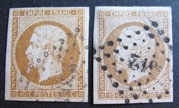 DF50478/293 - NAPOLEON III N°13A + N°13B - LPC - Cote : 55,00 € - 1853-1860 Napoléon III