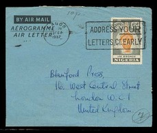 BC - Nigeria. 1957. Lagos - UK. Used Airletter. VF. - Unclassified