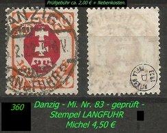 Mi. Nr. 83 In Gebraucht - Geprüft - LANGFUHR C - Danzig