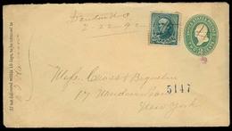 USA. 1892. Denton / N. Carolina - NY. Registr Stat Env + 10c Mns Cancel. VF. - United States