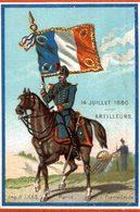 CHROMO  14 JUILLET 1880  ARTILLEURS - Trade Cards