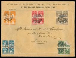 DENMARK. 1907. Kopenhagen - France. Com. Env Wagons - Lits. 5 Blocks Of Four Fkg (one Some Damaged In Transit?). - Danemark