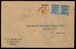 BURMA. 1938. Rangoon - Germany. Fkd Env. - Burma (...-1947)