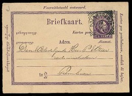 DUTCH INDIES. 1897. Poerwodedjo - Premboen. 5c Stat Card. VF. - Indes Néerlandaises