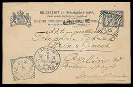 DUTCH INDIES. 1905. Djokjakarta - Germany. 7 1/2 Stat Card Stline. - Indes Néerlandaises