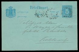 DUTCH INDIES. 1893. Toeldeng Agueng. 5c Local Stat Card Usage. F-VF. - Niederländisch-Indien