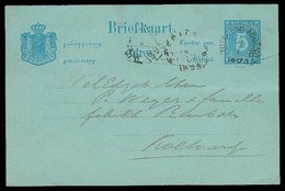 DUTCH INDIES. 1893. Toeldeng Agueng. 5c Local Stat Card Usage. F-VF. - Indes Néerlandaises