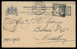 DUTCH INDIES. 1905. Tandjongpriok - Netherlands. 7 1/2c Stat Card. VF. - Indes Néerlandaises