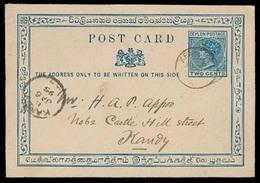 BC - Ceylon. 1895. Kegala - Kandy. 2c Stat Card. - Unclassified