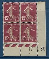 "FR Coins Datés YT 189 I "" Semeuse Camée 15c. Brun-lilas "" Neuf** Du 17.1.30 - ....-1929"