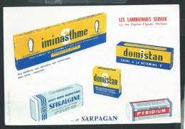 Iminasthme , Domistan , Spiralgine , Pyridium , Les Laboratoires Serviers , Orleans     - Ln31005 - Chemist's