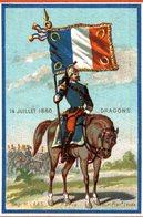 CHROMO  14 JUILLET 1880   DRAGONS - Trade Cards