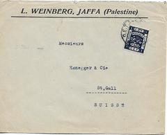 PALESTINE 1916? Cover From Jaffa To Suisse 1 Stamp COVER USED - Palestina