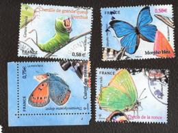 TIMBRES .FRANCAIS   OBLITERATION  RONDE .  SERIE NATURE ..PAPILLONS.  4498/4501.. ANNEE 2010 - France