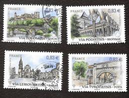 TIMBRES .FRANCAIS   OBLITERATION  RONDE .   SAINT JACQUES DE COMPOSTELLE  N° 4838/4841  .ANNEE 2013 - France