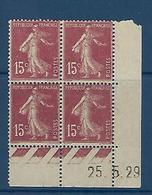 "FR Coins Datés YT 189 I "" Semeuse Camée 15c. Brun-lilas "" Neuf** Du 25.5.29 - ....-1929"