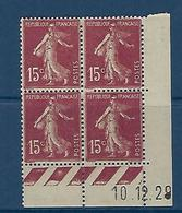 "FR Coins Datés YT 189 I "" Semeuse Camée 15c. Brun-lilas "" Neuf** Du 10.12.29 - ....-1929"