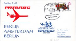 "(DDR-B3) DDR Sonderkarte ""INTERFLUG Erstflug IL62 Berlin-Amsterdam-Berlin"" EF Mi 3102, SSt. 26.3.1989 BERLIN 7 - Briefe U. Dokumente"