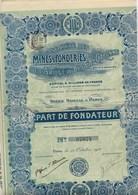 PART DE FONDATEUR - MINES ET FONDERIES DE L' ARIEGE ET DE LA HTE GARONNE - 1910 - Mines
