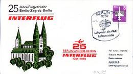 """(DDR-B3) DDR Sonderkarte """"INTERFLUG 25 Jahre Flugverkehr Berlin-Zagreb-Berlin"""" EF Mi 3128, SSt. 4.4.1989 BERLIN 7 - [6] République Démocratique"""