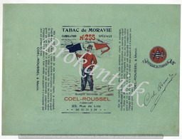Tabac De MORAVIE  255  COEL-ROUSSEL MENIN  Verpakking  100gr Lythographie Nooit Gebruikt  +/- 1900 - Plaques Publicitaires