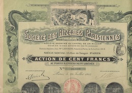 ACTION DE 100 FRS - SOCIETE DES RIZERIES PARISIENNES - ANNEE 1915 - Agriculture