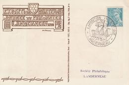 OBLIT. GF ILLUSTRÉE EXPO. PHILAT. LANDERNEAU 6/44 - Bateau / Journée Prisonnier - Postmark Collection (Covers)