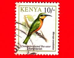 KENIA - Usato - 1993 - Uccelli - Gruccione Pettocannella - Birds - Mereops Oreobates - 10/- - Kenia (1963-...)