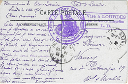 DÉPOT DU DORT DE LOURDES - VISÉ À LOURDES PAR LE SERVICE INTERPRÊTES L.B. 13 Octobre 1916 Cachet Rond & Linéaire Violet - WW I