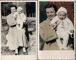 2 Cartes Photos Originales Portrait Mère & Bébé, Colorisé à La Main Ou Pas Vers 1940/50 - Personnes Identifiées